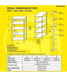 Regały metalowe malowane RPGM, H-1980 5 półek (940 x 590)