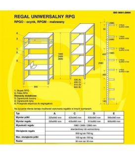 Regały metalowe malowane RPGM, H-1980  5 półek (940 x 325)