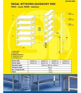 Regał wtykowo-zaciskowy ocynkowany RWZO, H-2000 5 półek (905 x 300)